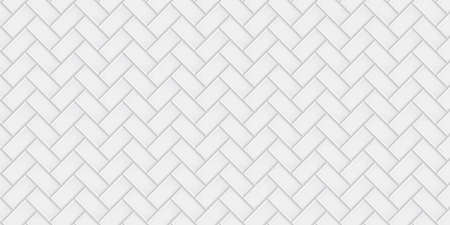 White ceramic tiles herringbone diagonal pattern texture abstract background vector illustration