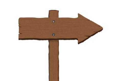 Retro brown wooden plank arrow shaped sign board vector illustration Illustration