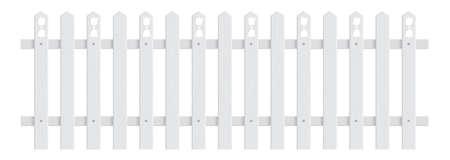 Retro white wooden plank fence vector illustration