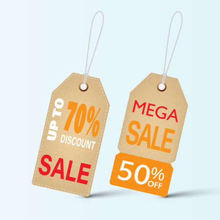Vintage brown price tags, shopping discount concept vector illustration