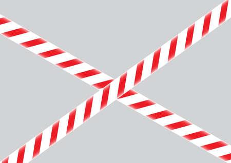 Red and white warning do not enter barrier tape vector illustration
