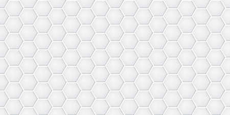White ceramic hexagon tiles wall texture abstract background vector illustration