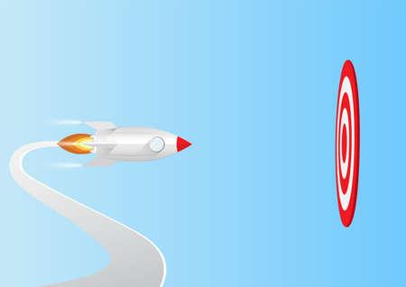 Rocket flying to big target, business concept vector illustration