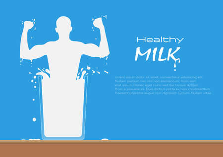 Milk man in a glass of fresh milk with splash on wooden table, healthy drinking milk concept vector illustration