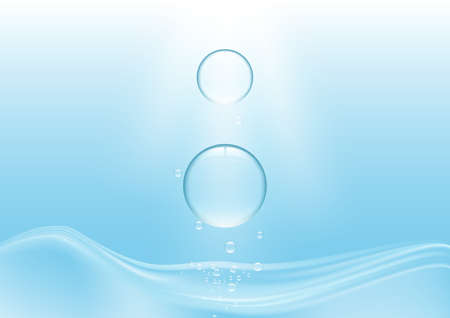 Falling blue water drops on water surface vector illustration Illustration