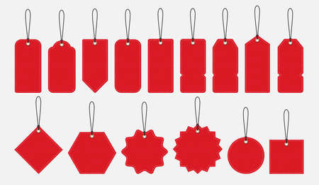 Red price tags collection, shopping discount concept vector illustration