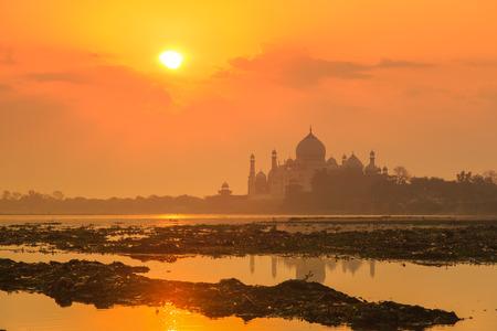 saturated color: Taj Mahal and Yamuna River Stock Photo