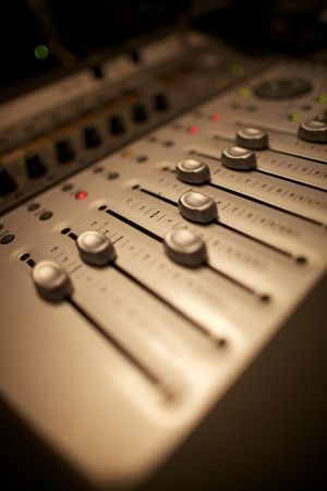 music production: Sound Mixing Desk Stock Photo