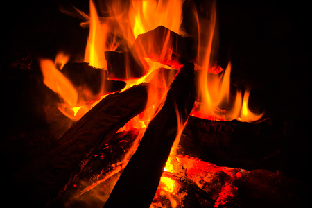 close up campfire in the mountain photo