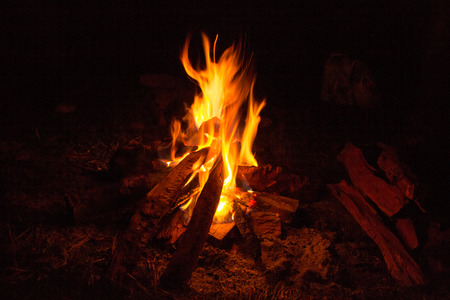 campfire in the mountain photo
