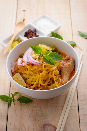 soi: Curried Noodle Soup (Khao soi) with coconut milk, Northern Thai  cuisine.