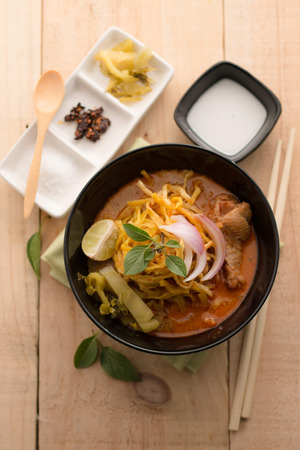 soi: Curried Noodle Soup (Khao soi) with coconut milk, Northern Thai  cuisine.