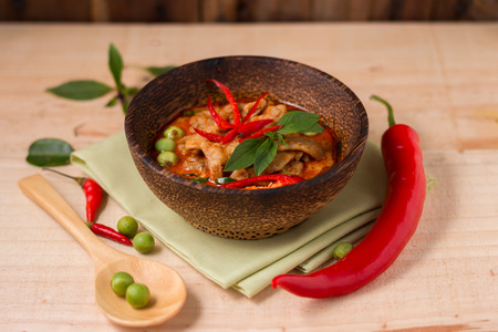 chilli: spicy chicken curry ,popular Thai food.