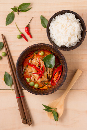 curry bowl: spicy chicken curry with rice,popular Thai food.