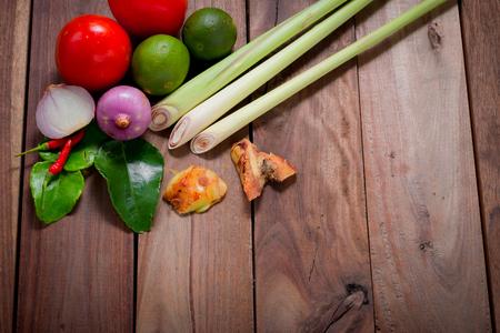 spicy food: Ingredients of Thai spicy food, tom yum.