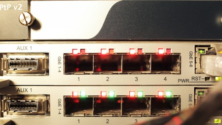 leds: Optical multiplexer room communications. Glowing red and green LEDs