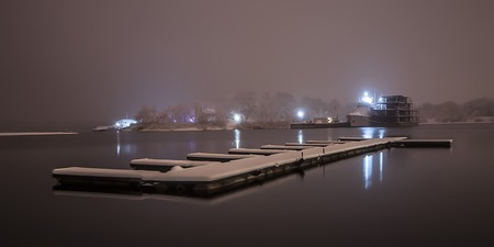 Winter berth ship in the background photo