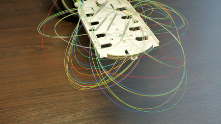 Optical tray with colored fibers