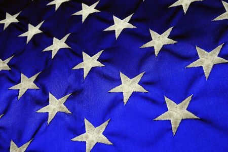 American Flag backlit blue with white stars