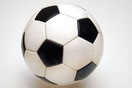 Classic black and white stitched soccer ball. Stock Photo - 1551974