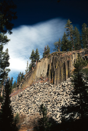 Rock formations at Devils Postpile National Monument. Stock Photo