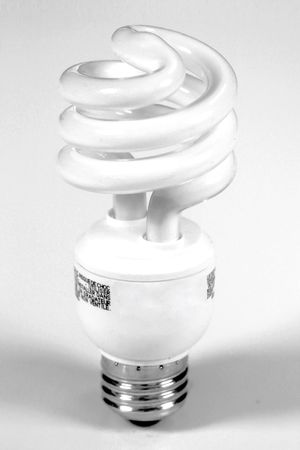 Low power usage, energy efficient, compact fluorescent light bulb.