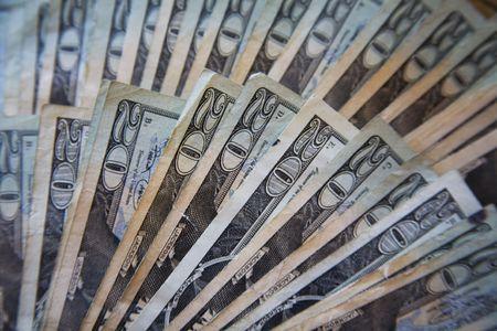 United States W�hrung - Stack von zwanzig Dollar fanned Rechnungen aus