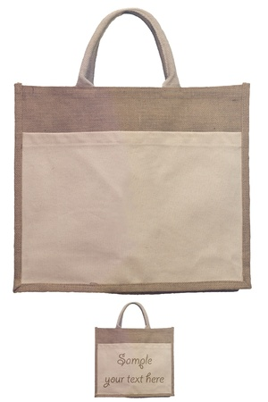 juta made environmental friendly shopping bag with clipping path and spot for custom text photo