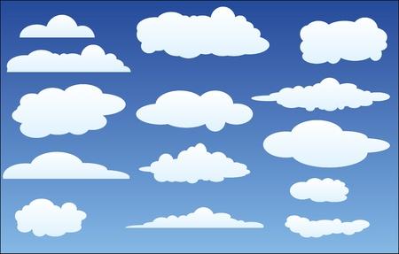nubes caricatura: diseño conjunto de nubes en el cielo Vectores