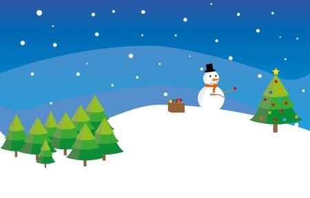 Snowman decorates new year fir tree - illustration Stock Vector - 17872308