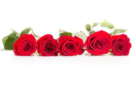 Rij van vijf rozen
