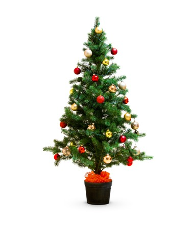 small decorated christmas tree isolated on white stock photo 64713688
