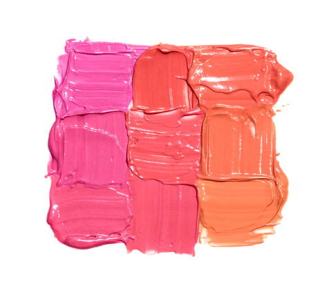 Nine samples of different lipstick colors in the form of square