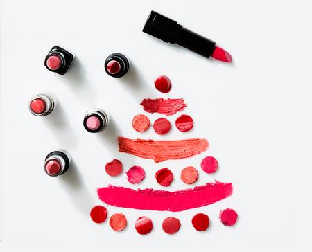 Lipstick on white background top view Stockfoto
