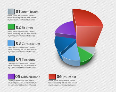 Creative vector colorful 3D pie chart