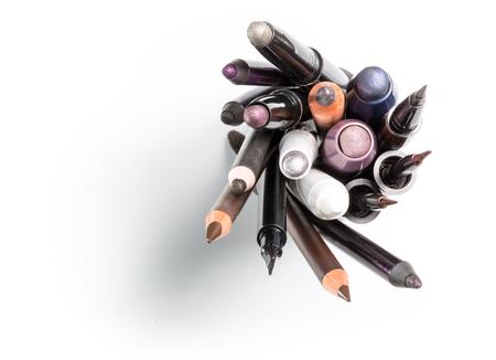 Cosmetic pencils of make up eyeshadow pencils. Stock Photo