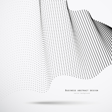 Abstract 3d business background of black halftone dots with shadow and example text. Vector illustration for corporate design.