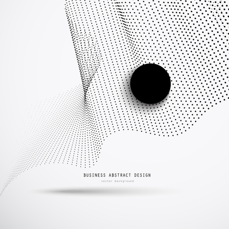 Abstract 3d business background of black dots halftone with a large black circle and an example header. Vector illustration for corporate design. Ilustração