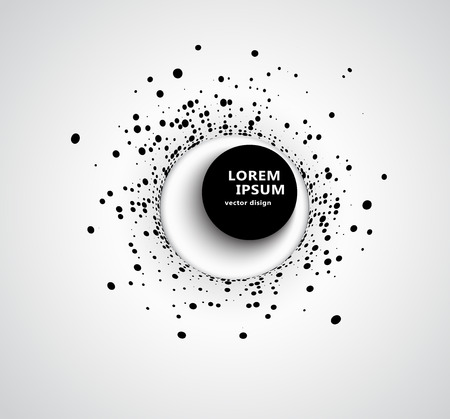 Abstract business background with 3D circular halftone design circle of black dots on a circle with a big black 3D round button and shadow. Vector illustration with space for text. Ilustração