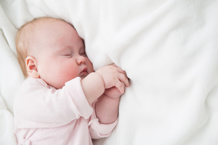 Baby Sleeping, 3 months old Kid in pink cloth Sleep on a white blanket, Child Asleep in bed