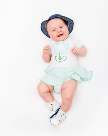 Portrait of a baby girl on a white background Banco de Imagens