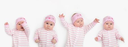 set of portrait of adorable 3 months old baby girl with funny expression wearing headband Banco de Imagens