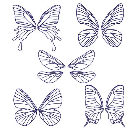 set of butterflies silhouettes isolated on white background in vector format