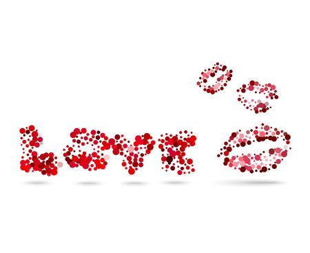 Red kiss and inscription love dots