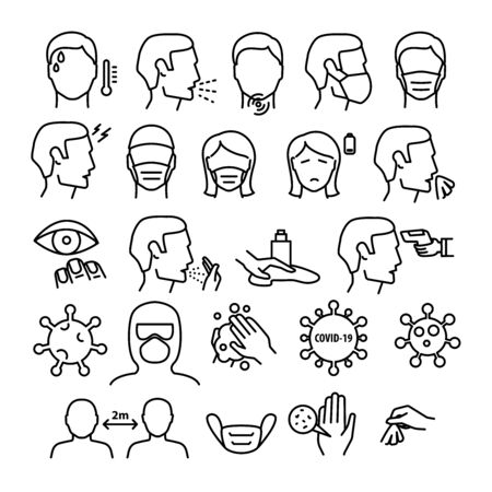 Flu And Coronavirus Symptoms Medical Collection Icons Set Vector Thin Line. Chills And Fever, Cough And Runny Nose, Flu Virus In Lungs And Stomach Linear Pictograms. Contour Illustration