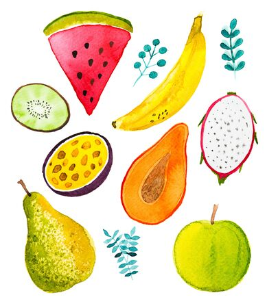 Watercolor fruits pattern, healthy food diet products. illustration.