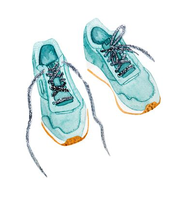 Sports mint shoes sneakers watercolor style illustration isolated on white background. Reklamní fotografie