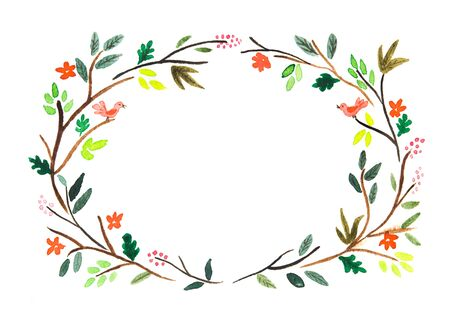 Watercolor wreath. Spring set. Frame and tree branch . Hand drawn illustration. Design for wedding invitations, greeting cards, cards.