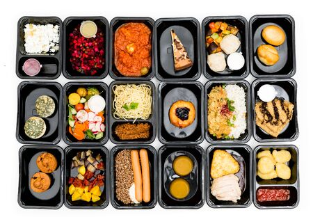 food in containers on a dark background. food delivery. healthy food. over view Reklamní fotografie