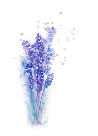 Watercolour drawing of lavender in a glass with 3d salt crystals imitating a magical fragrance on white background